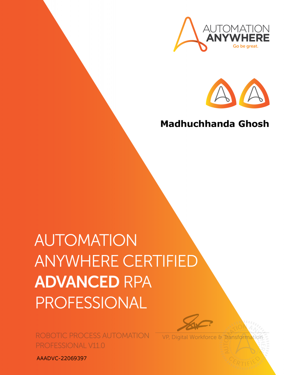 Automation Anywhere certificate